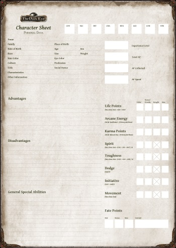 The Dark Eye 5 Character Sheet