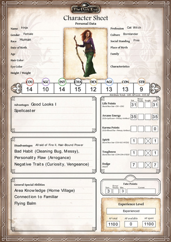 The Dark Eye Character Sheet - Bornlander Cat Witch